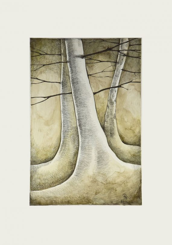 Originální kresba s motivem lesa