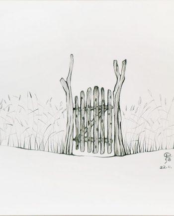 Originální kresba s motivem vrátek do tajemného světa