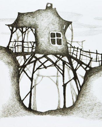 Originální kresba s motivem domku u lesa