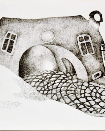 Originální kresba s motivem podivných domů