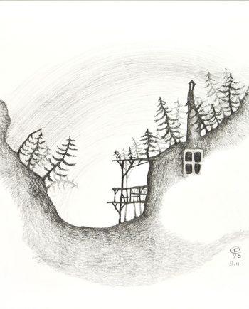 Originální kresba s motivem chaloupky ukryté v roklině