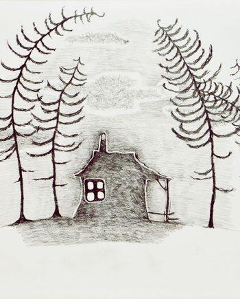 Originální kresba s motivem chaloupky ukryté mezi stromy