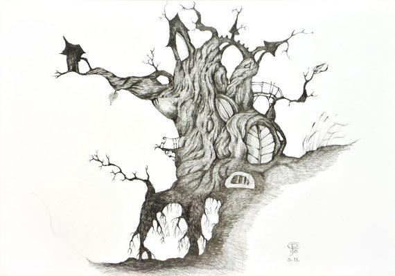Originální kresba s motivem stromu či domu havranů