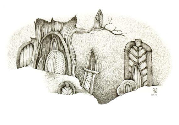 Originální kresba s motivem tajemných dveří, vrat a bran