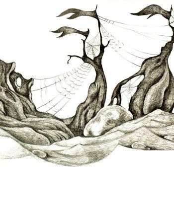 Originální kresba s motivem moře, dřeva, struktur