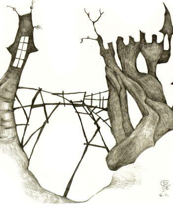 Originální kresba s motivem dvou strašidelných hradů spojených mostem