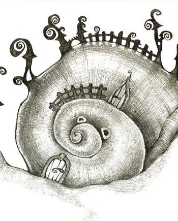 Originální kresba s motivem domečku v šnečí ulitě